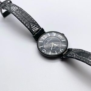 Anne Klein Leather Banded Gunmetal Large Watch